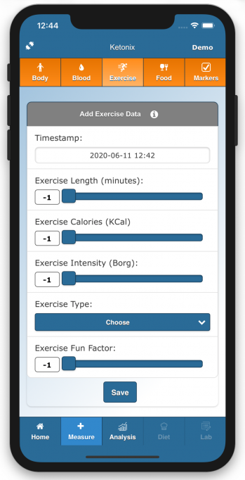 You can add exercise data.